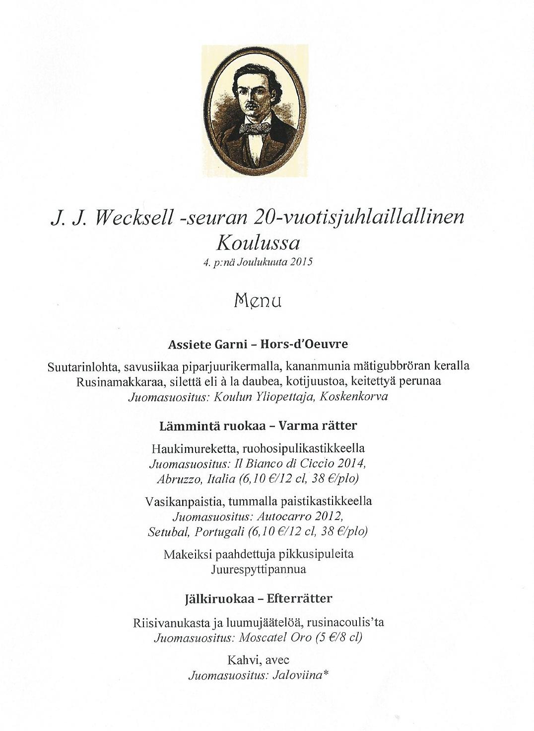 J. J. Wecksell -seura 20 vuotta
